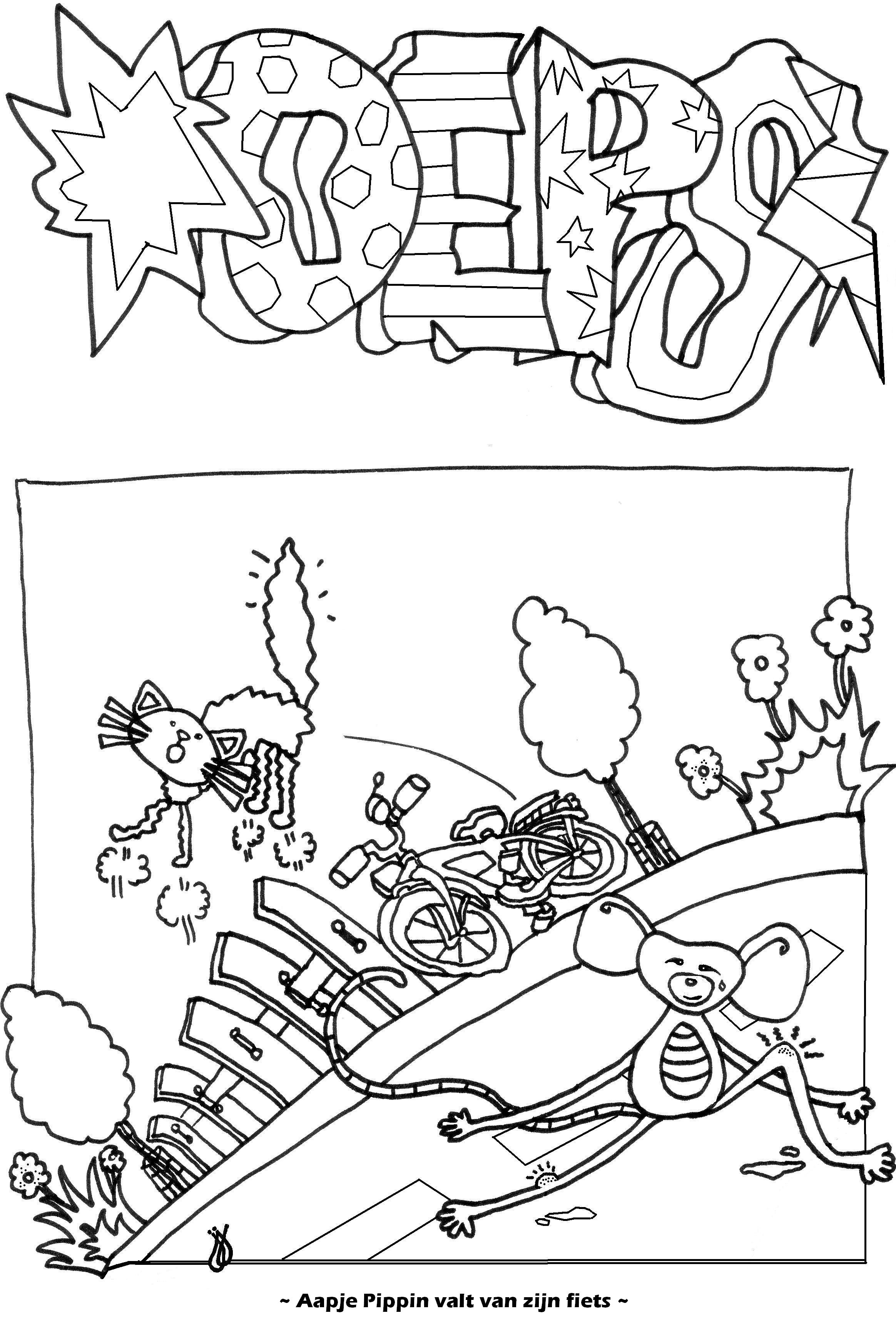 Aapje Pippin valt van zijn fiets