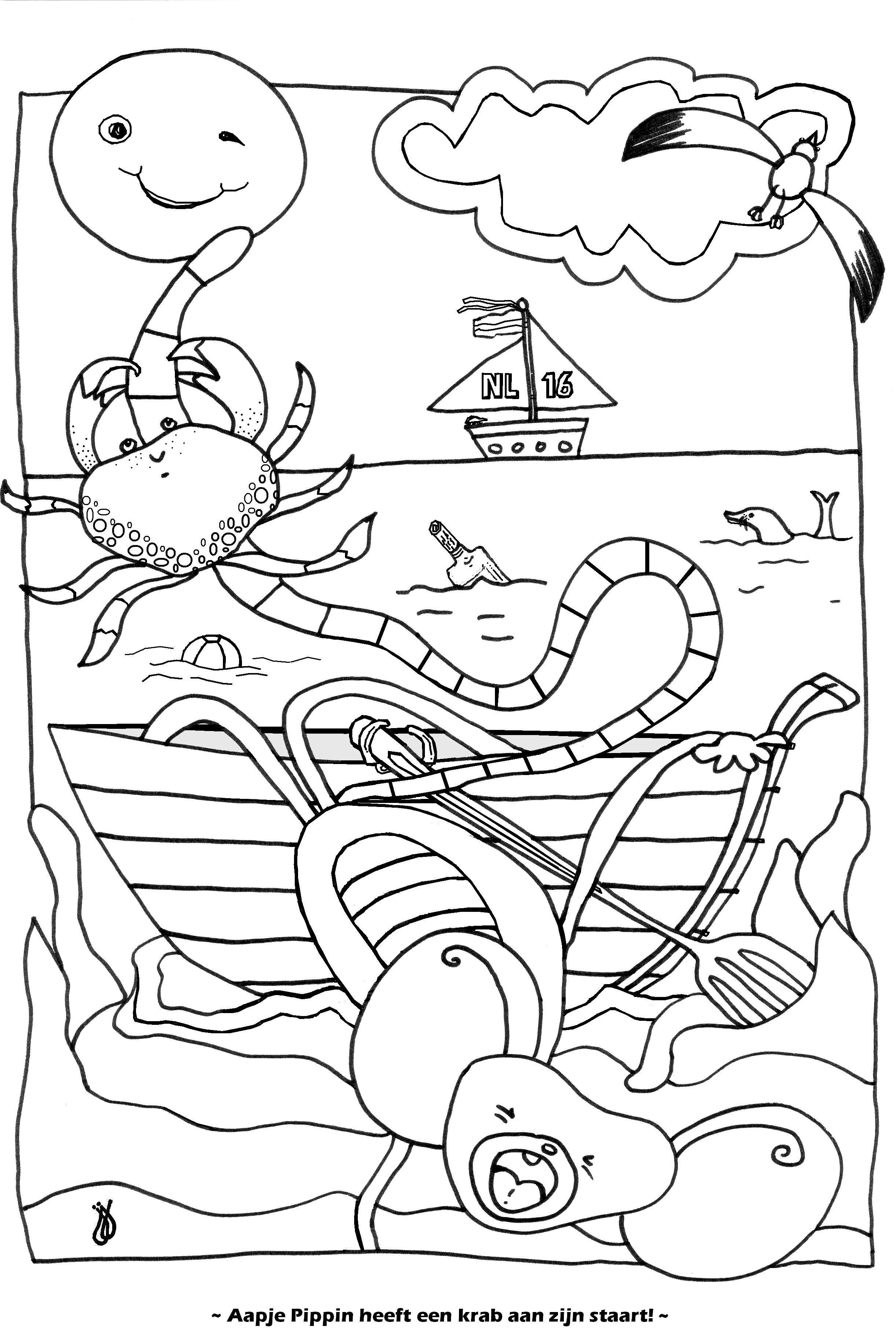 Aapje Pippin heeft een krab aan zijn staart