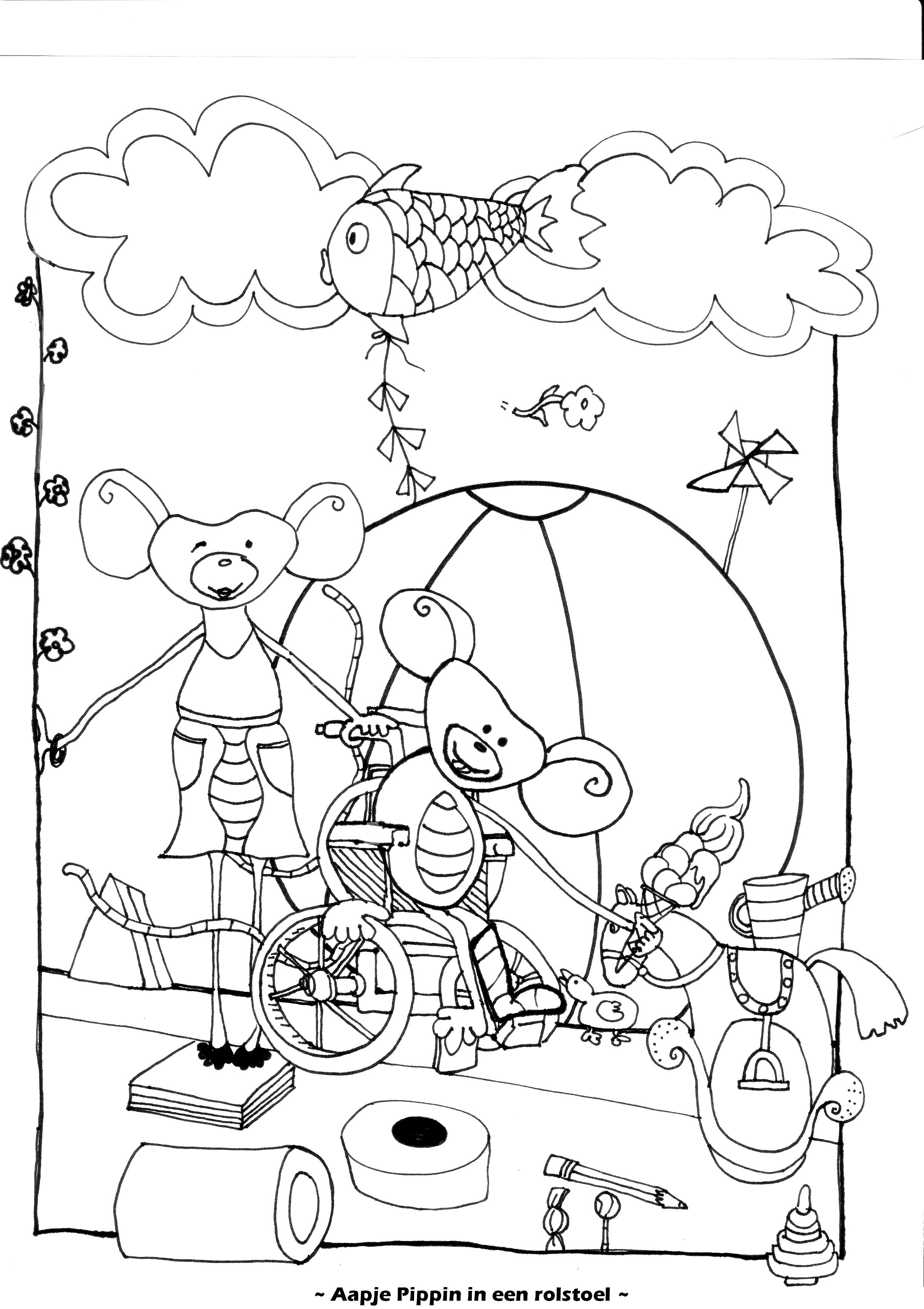 Aapje Pippin in een rolstoel