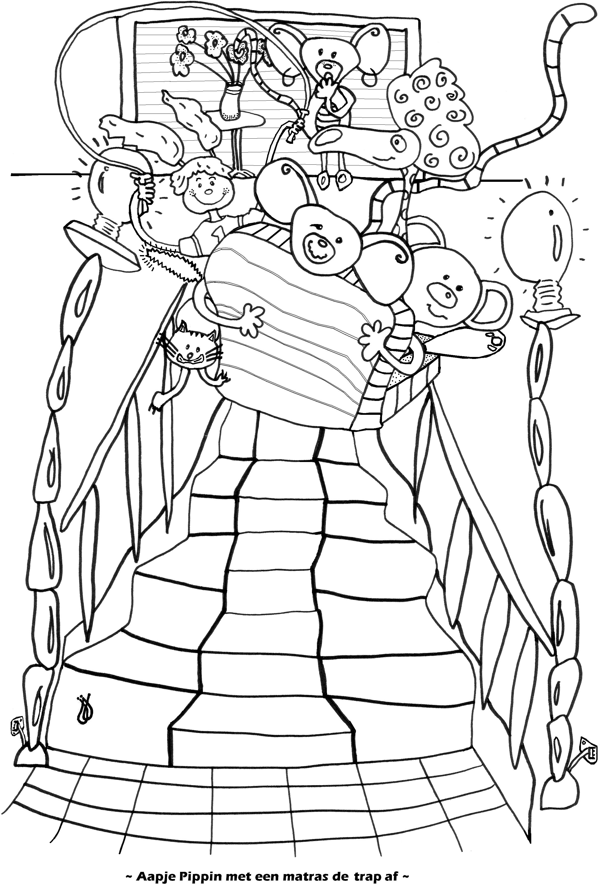 Aapje Pippin met een matras de trap af